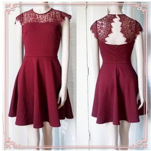 Miami Wine Maroon red Lace Open Back Skater Dress
